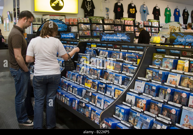Bluray Movies - HMV - Milton Keynes - Buckinghamshire - Stock Image