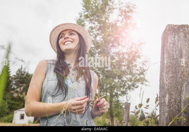 Young woman enjoying nature, Roznov, Czech Republic - Stock-Bilder