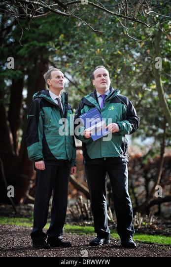 Edinburgh, UK. 3rd Feb, 2014. Environment and Climate Change Minister Paul Wheelhouse with Biodiversity Advisor - Stock Image