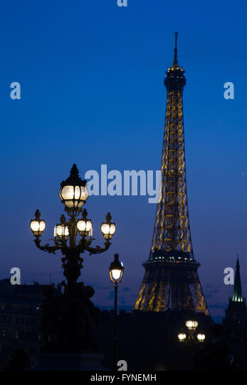 Twilight blue in Paris France - Stock Image