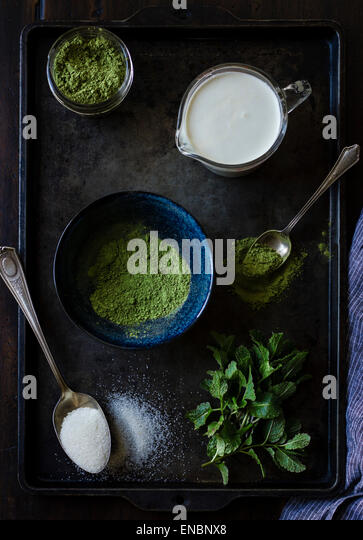 The recipe for matcha mint choc chip ice cream - Stock Image