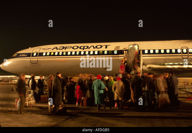 Ukraine Kiev Kiev Airport Aeroflot airliner passengers boarding flight to Moscow - Stock Image