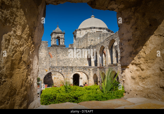 Mission San José in San Antonio, Texas - Stock Image