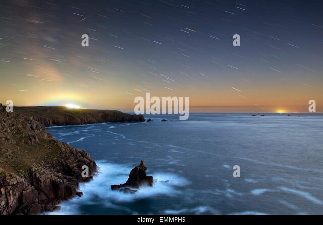 Shooting Star; Star Trails Land's End; Cornwall; UK - Stock Image