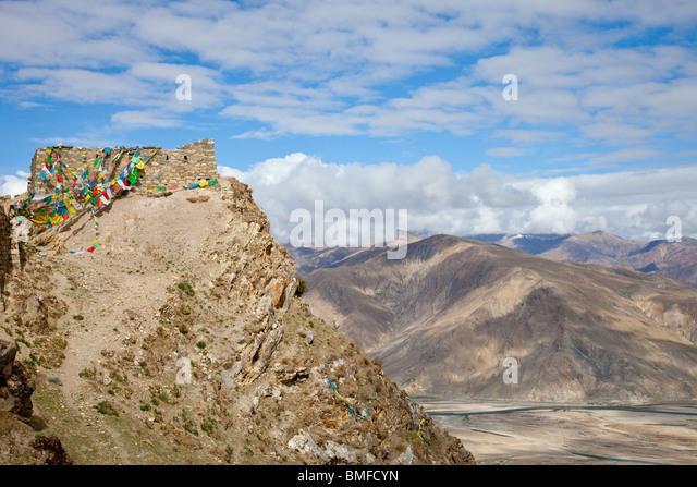 Kyi-chu Valley from Ganden Monastery near Lhasa, Tibet - Stock-Bilder