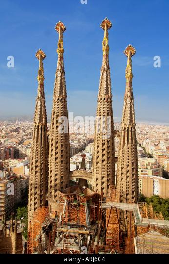 Sagrada Familia by Antoni Gaudi , Tower Pinacles,   Barcelona , Spain - Stock Image