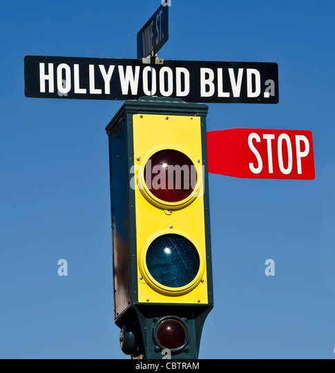 Hollywood Blvd traffic light with stop sign, Universal Studios Orlando Florida - Stock Image