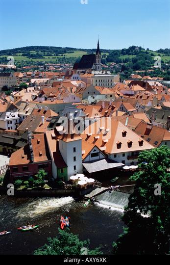 View from the castle, Cesky Krumlov, UNESCO World Heritage Site, Czech Republic, Europe - Stock Image