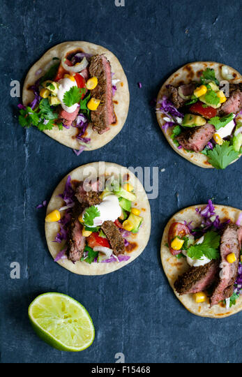 Mini beef steak tortillas - Stock Image