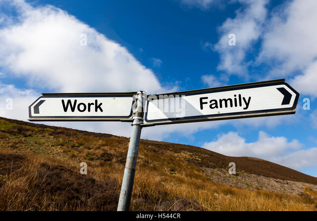 Work family life choice choices enjoy life living work to live play be happy juggle life sign concept concepts signs - Stock Image