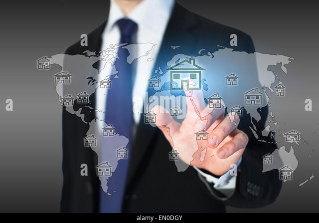 real estate on the world map - Stock Image
