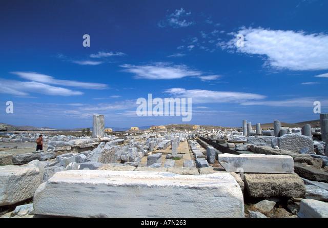 GREECE Stoa of Philip at Delos - Stock Image