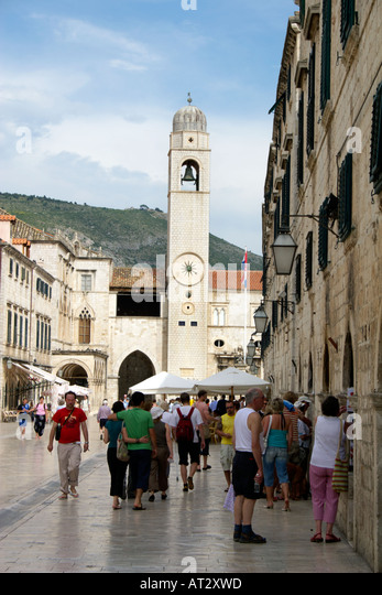Placa Luza Sponza Palace and the clock tower Dubrovnik Croatia Placa Luza Luza Square Sponza Palace fifteenth 15 - Stock Image