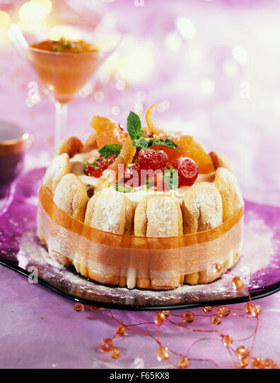 ice cream, nougat and candied fruit charlotte - Stock Image
