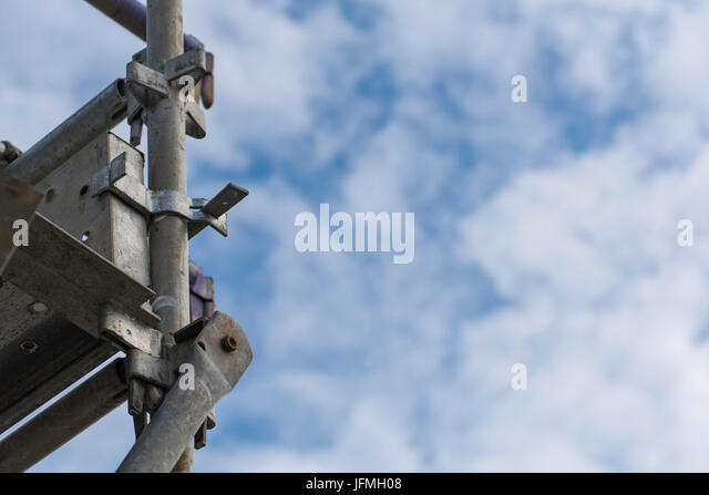 Looking up at Scaffolding in a construction site in Australia - Stock Image