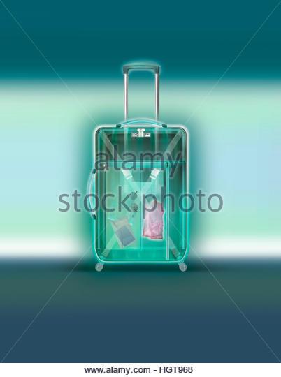 X-ray of wheeled suitcase - Stock-Bilder