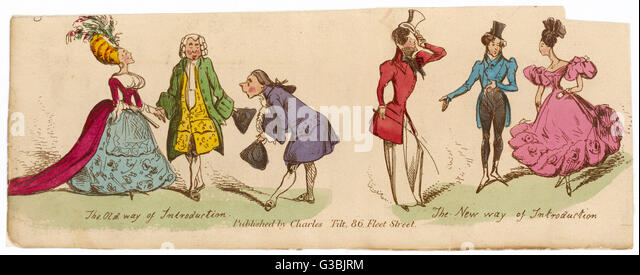 The old and new styles of introducing a new acquaintance.       Date: 1830 - Stock-Bilder