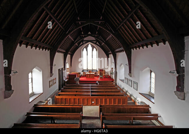 Inside Balquhidder Church,Sterling,Scotland, UK - Rob Roy Red MacGregors resting place - Stock Image