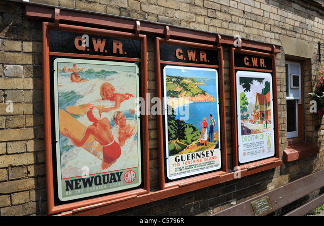 Old railway holiday travel posters on Severn Valley Railway Uk - Stock-Bilder