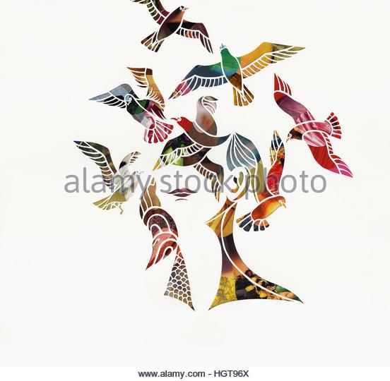 Birds flying around woman's head - Stock-Bilder
