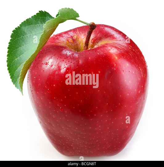Red apple on a white background - Stock Image