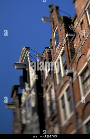 Europe, The Netherlands, Holland, Amsterdam, Jordaan, buildings along Prinsengracht canal - Stock Image