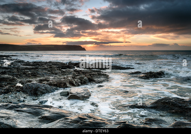 Pendower Beach on the south coast of Cornwall - Stock Image
