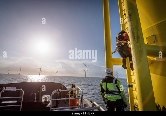 Engineers climbing wind turbine at offshore wind farm - Stock Image