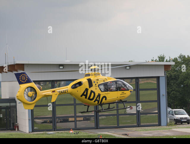 Jena- Schoengleina Airport, Germany, June 04. 2016, ADAC Air Rescue Helicopter arrives at his Base - Stock Image