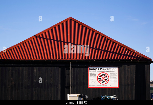 Rabies warning sign on harbour building Arbroath Scotland - Stock Image