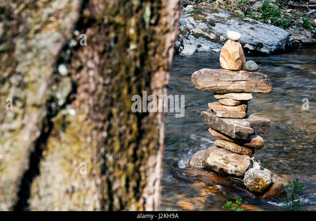 River Rock Cairn - Pisgah National Forest, near Brevard, North Carolina, USA - Stock Image