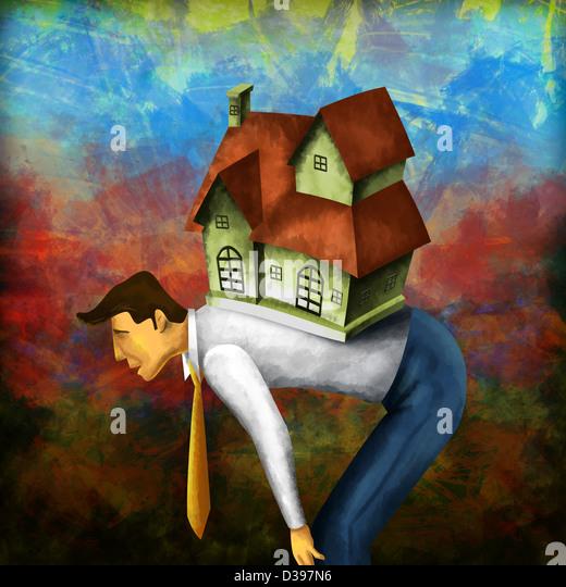 Side view of a businessman bending with model home on back depicting home loan burden - Stock-Bilder