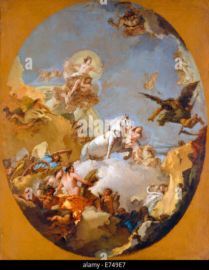 The Chariot of Aurora - by Giovanni Battista Tiepolo, 1700's - Stock Image