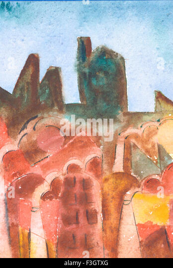 Abstract cityscape watercolor on paper - Stock-Bilder