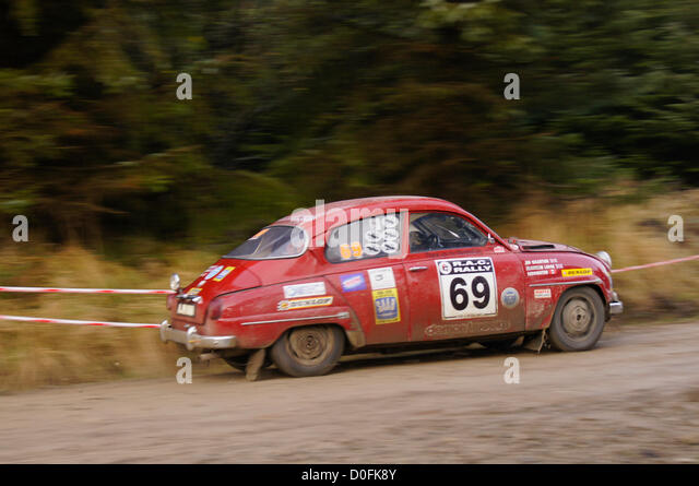 SAAB 96 Sport Caroline Lodge Jim Valentine 55th in the overall rankings at the end of day 2 of the RAC Rally. Pickering, - Stock Image