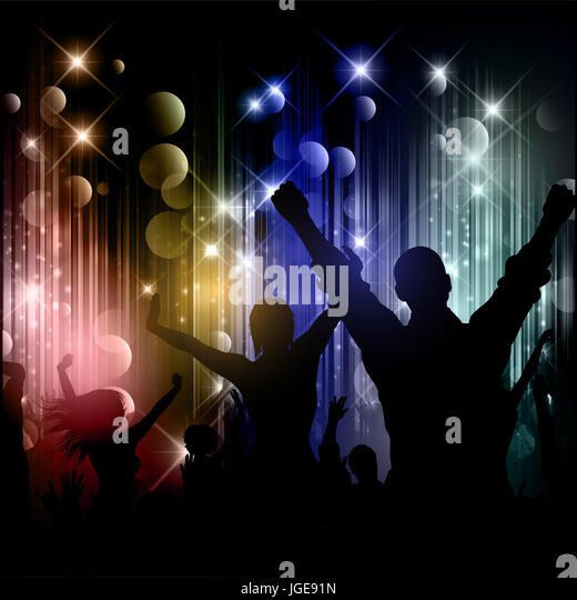 Silhouettes of party people on a disco lights background - Stock Image