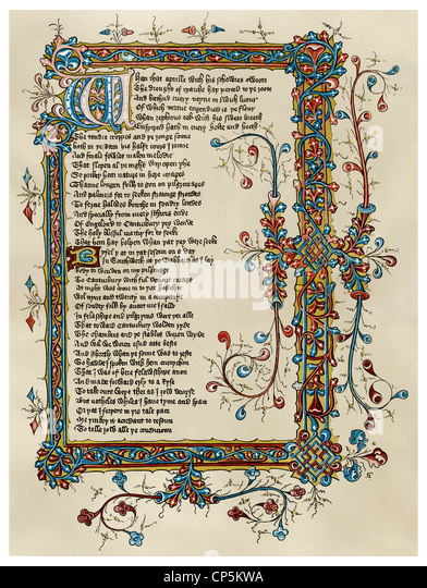 the beginning of the Canterbury Tales by Geoffrey Chaucer, Ellesmere Manuscript, 15th Centur - Stock Image