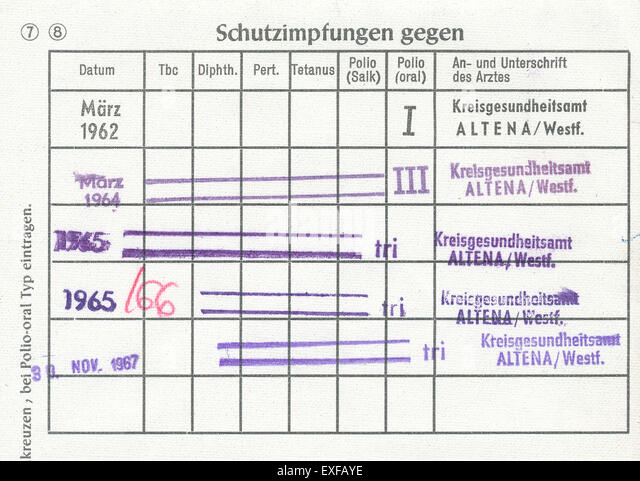 Vaccination record card, Germany, 1960, Europe - Stock Image