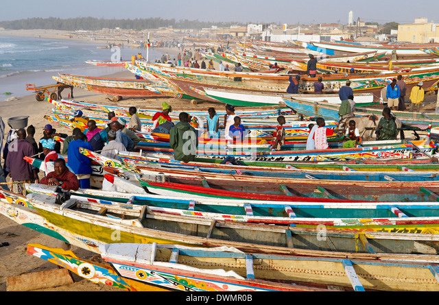 Kayar fishing harbour, the biggest fishing harbour in Senegal, Senegal, West Africa, Africa - Stock Image