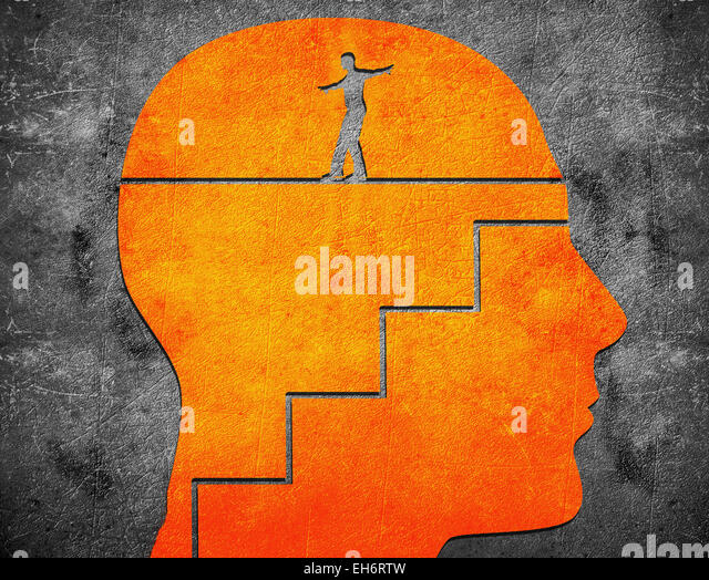 head with staircase and tightrope walker digital illustration - Stock-Bilder