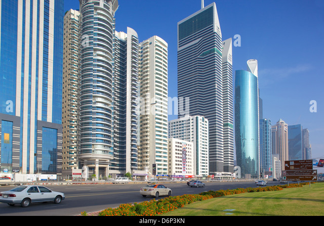 Skyscrapers on Sheikh Zayed Road, Dubai, United Arab Emirates, Middle East - Stock Image