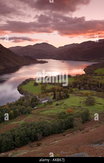 Sunset Over Ullswater, Lake District, Cumbria, England - Stock Image