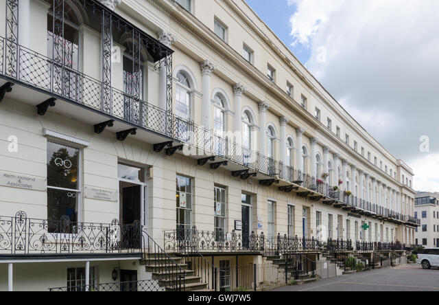 Row of Regency offices in St George's Roand, Cheltenham - Stock Image