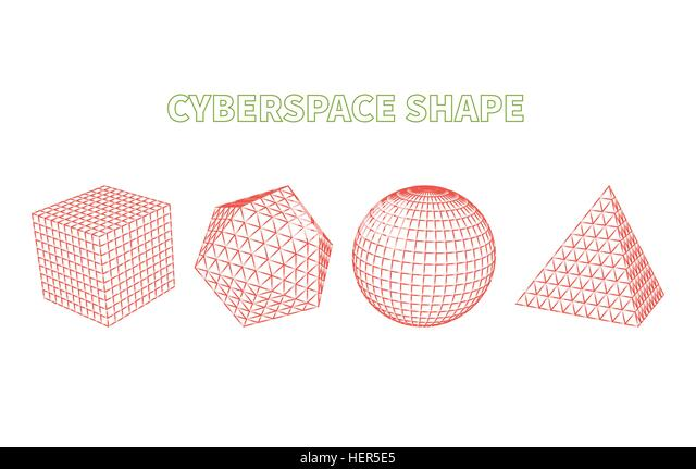 Abstract Cyberspace Grid Landscape Background. Abstract cyberspace geometric shapes. Cyberspace grid. 3d technology - Stock-Bilder