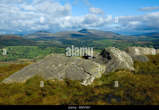On the north ridge of Aran Benllyn in the Aran mountains, near Bala, Snowdonia, North Wales, UK - Stock Image