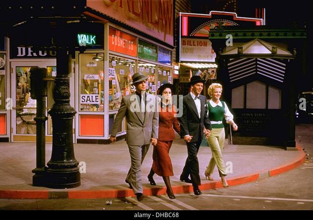 GUYS AND DOLLS  1955 MGM film . From l: Marlon Brando, Jean Simmons, Frank Sinatra, Vivian Blane - Stock Image