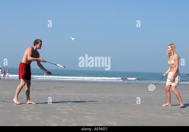 badminton at the beach - Stock Image
