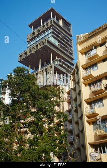 Antilia privat home skyscraper Mumbai - Stock-Bilder