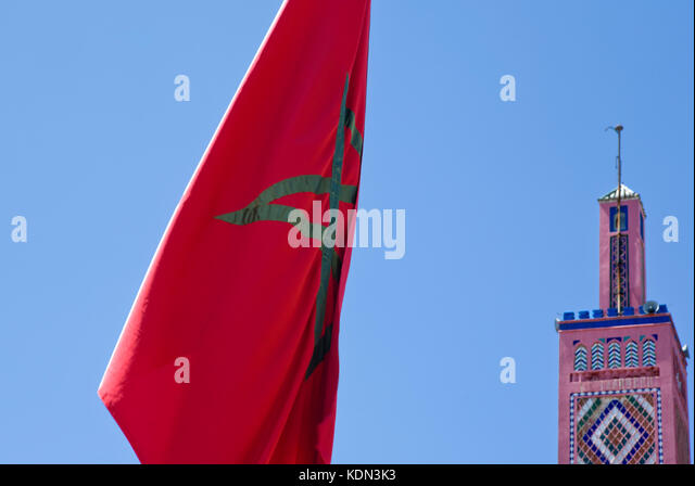 Moroccan flag and mosque minaret at bottom, Tangier, Morocco - Stock Image