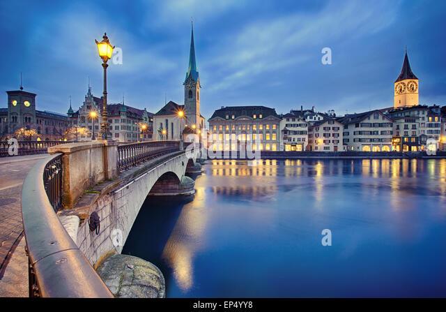 cityscape of night Zurich, Switzerland - Stock Image